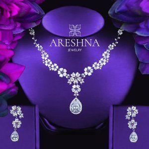 Luxury Floral Diamond Jewelry Set Necklace Earring